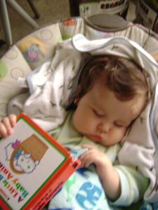 He fell asleep while reading his book.