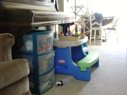 Ascher's toys and play table.