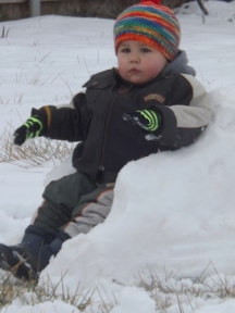 Ben made Ascher a snow chair.