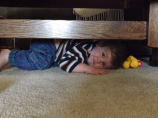 Under the coffee table.